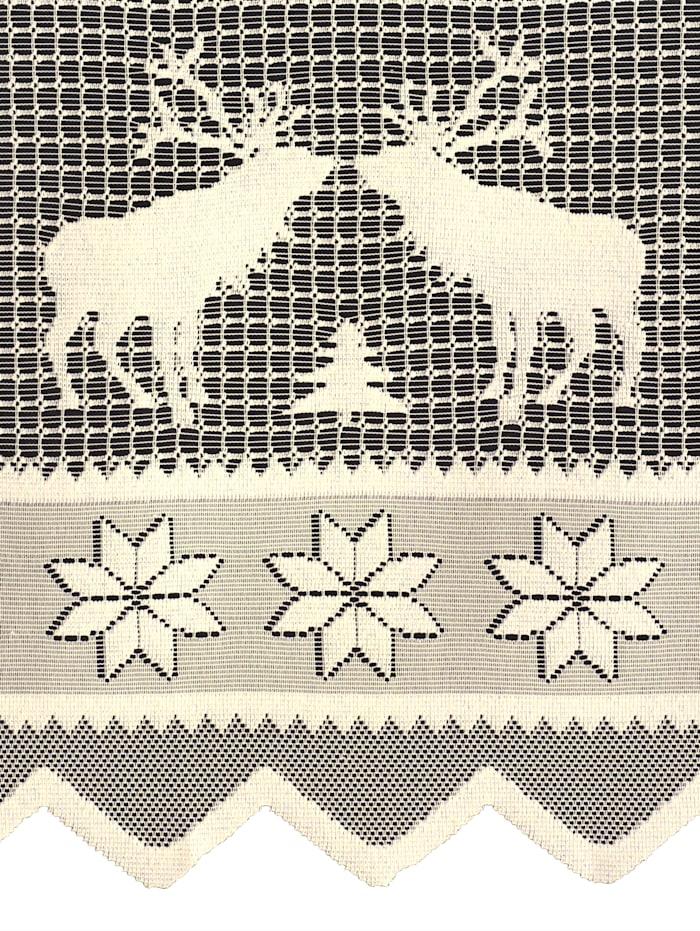 Kafégardin med reinsdyrmønster