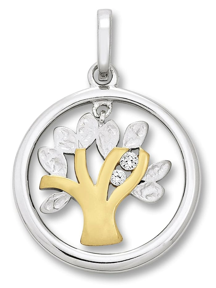 One Element Damen Schmuck Anhänger Lebensbaum aus 925 Silber Zirkonia, silber