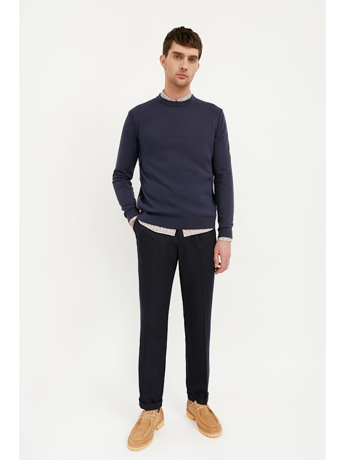 Basic-Pullover mit bequemen Rippbündchen