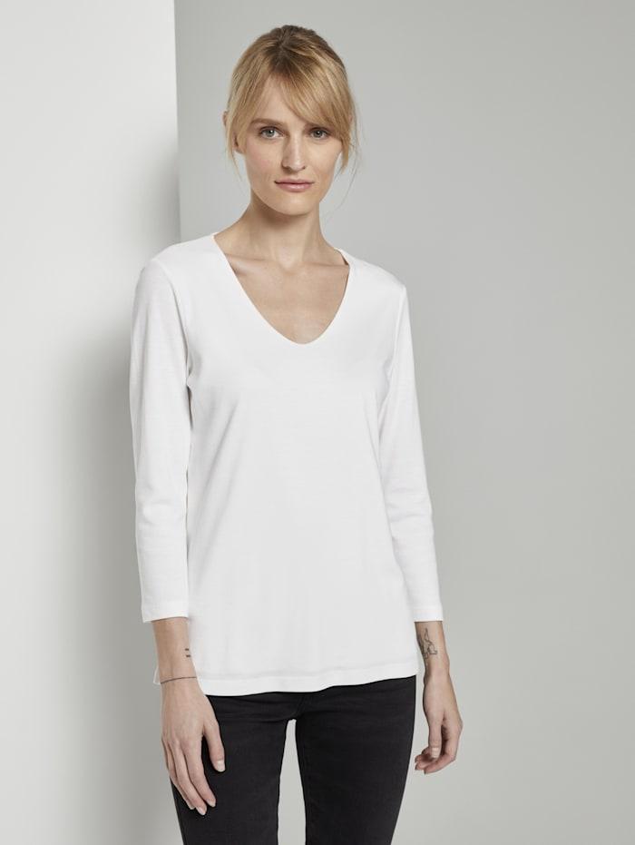 Tom Tailor Basic Shirt mit 3/4-Arm, Whisper White