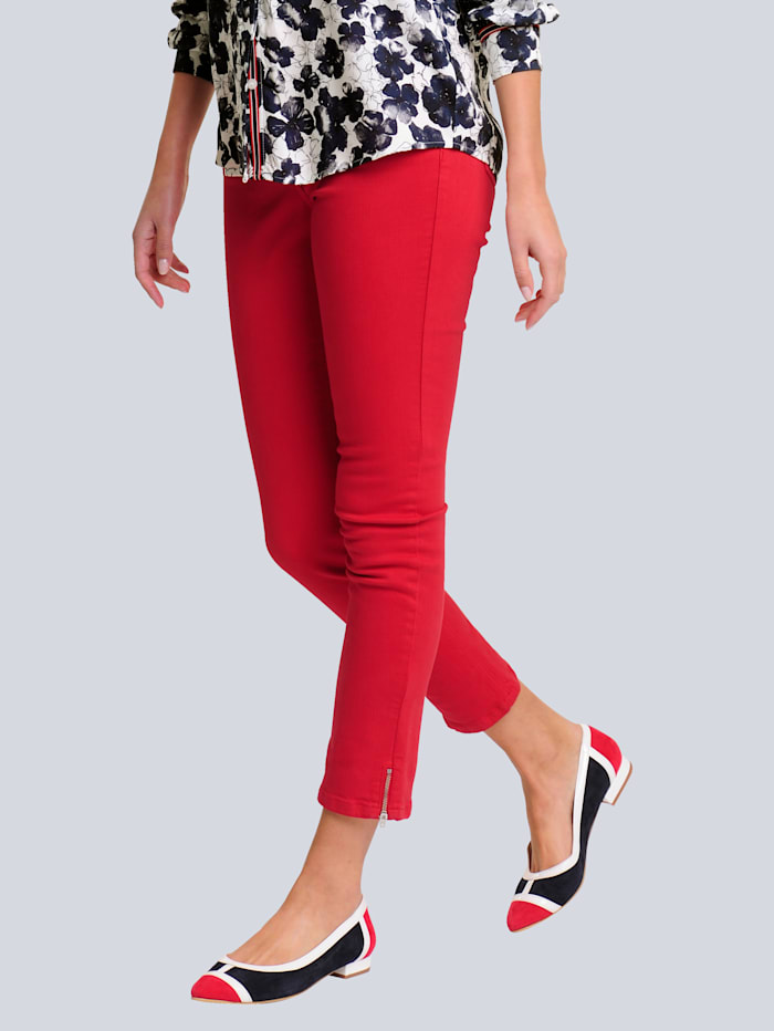 Alba Moda Hose mit Zipper am Saum, Rot