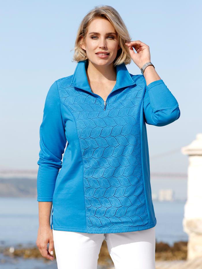 m. collection Sweat-shirt à empiècement en dentelle devant, Bleu