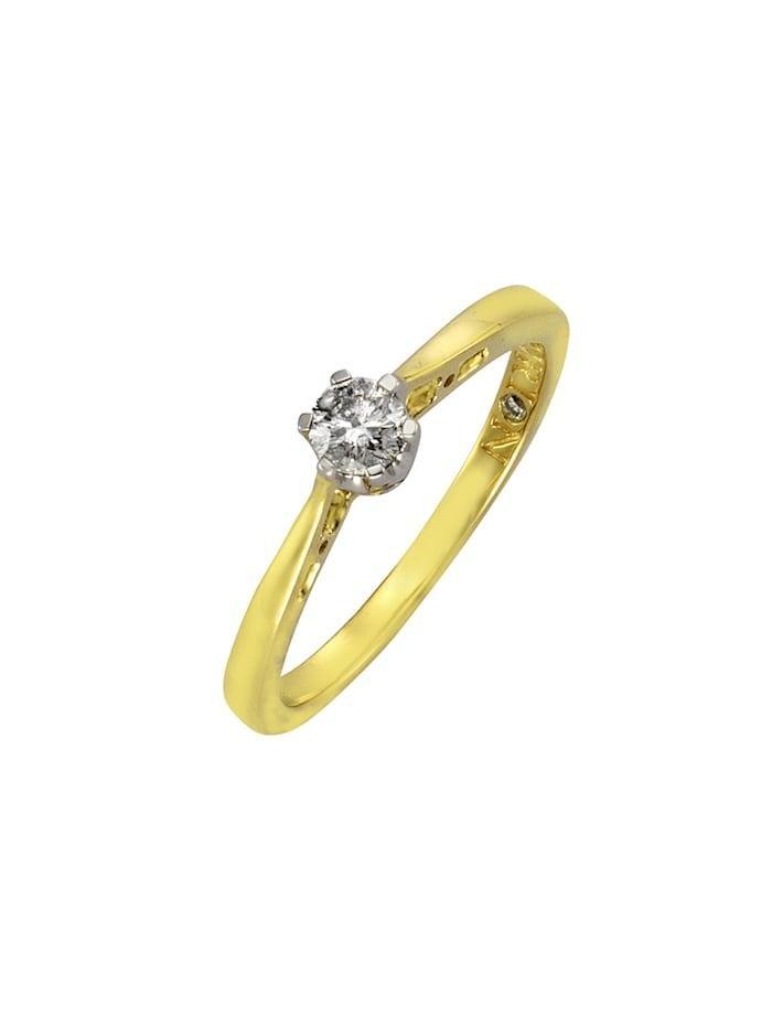 Diamonds by Ellen K. Ring 585/- Gold Brillant weiß Brillant Glänzend 0,25ct. 585/- Gold, gelb
