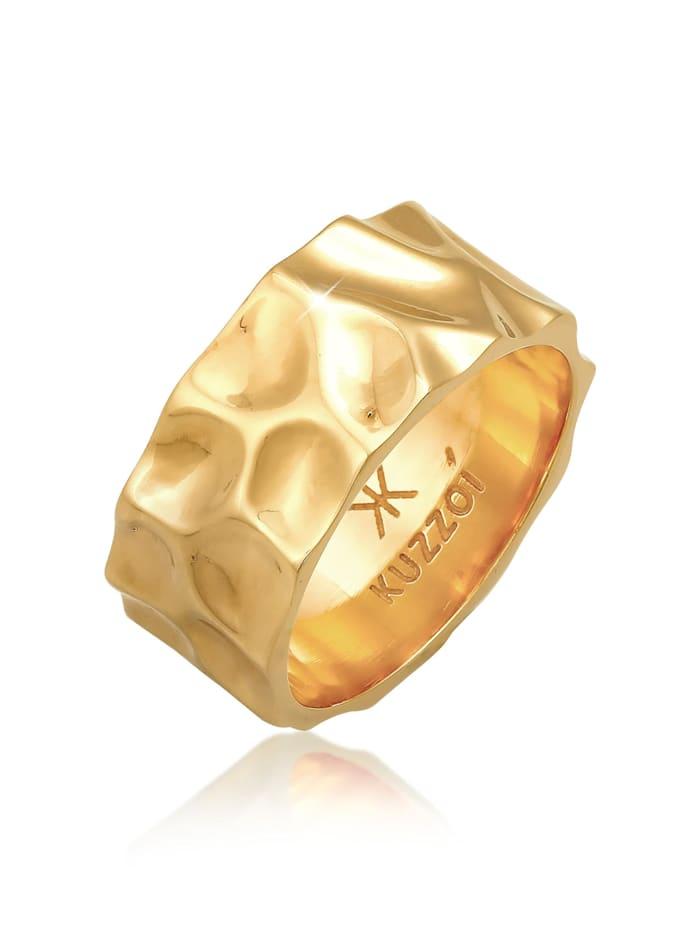 Kuzzoi Ring Herren Bandring Geschmiedet Used Look 925 Silber, Gold