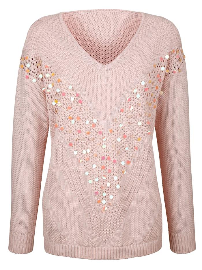 Pullover mit Pailletten im Vorderteil