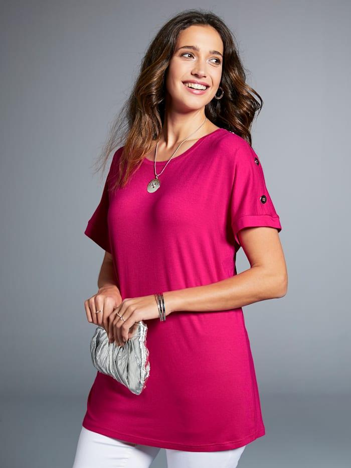 MIAMODA Shirt mit dekorativen Knöpfen am Ärmel, Pink