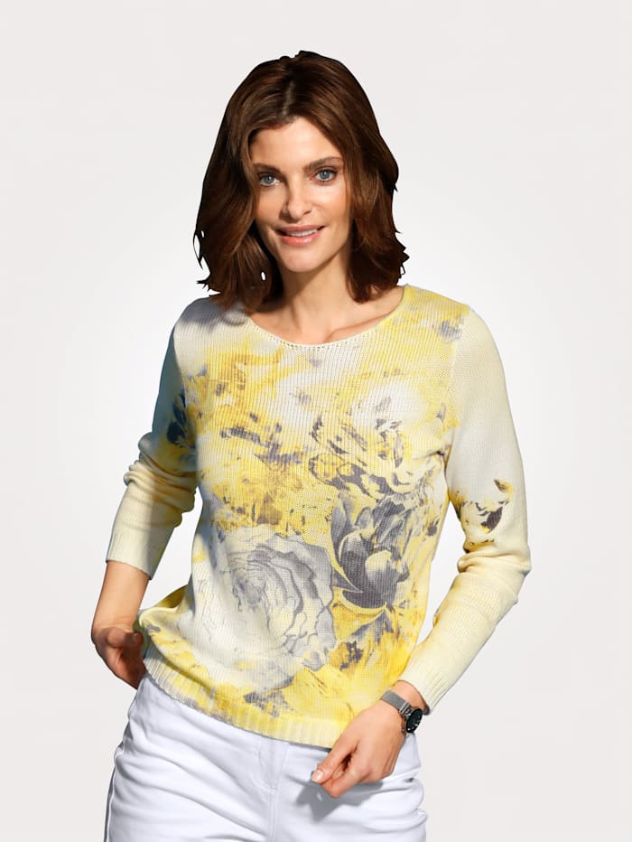 MONA Jumper with a floral print, Yellow/Grey