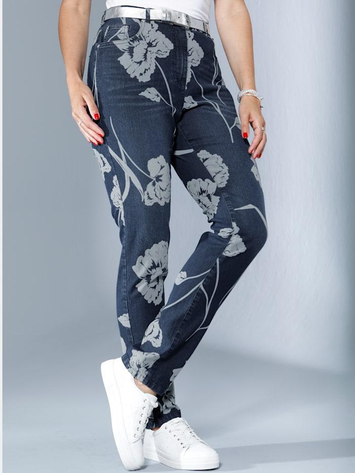 Jeans mit kontrasfarbenem Blumendruck
