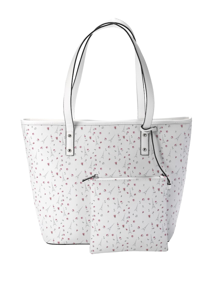 Collezione Alessandro Väska med liten, avtagbar sminkväska 2 delar, vit/flerfärgad