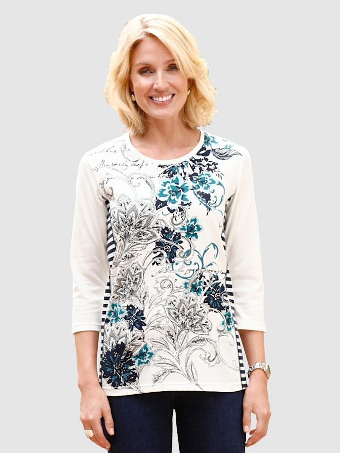 Paola Shirt met gestreepte inzetten opzij, Ecru/Marine/Turquoise
