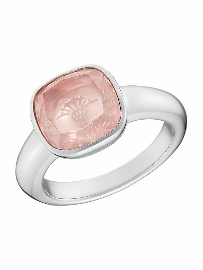 JOOP! Ring für Damen, Sterling Silber 925, Rosenquarz, Silber