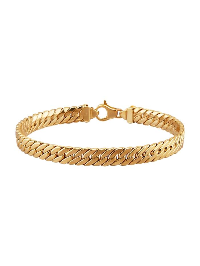 Bracelet en maille gourmette plate en or jaune 375, Coloris or jaune