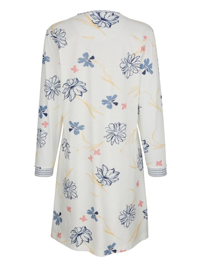 Nachthemd met gestreepte mouw- en halsboordjes