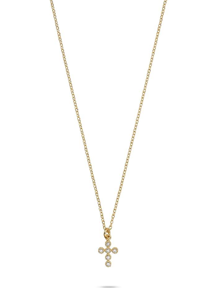 FAVS. FAVS Unisex-Kette 925er Silber 6 Zirkonia, gelbgold