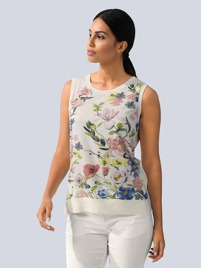 Alba Moda Topje met geweven inzet voor, Offwhite/Roze/Groen/Blauw