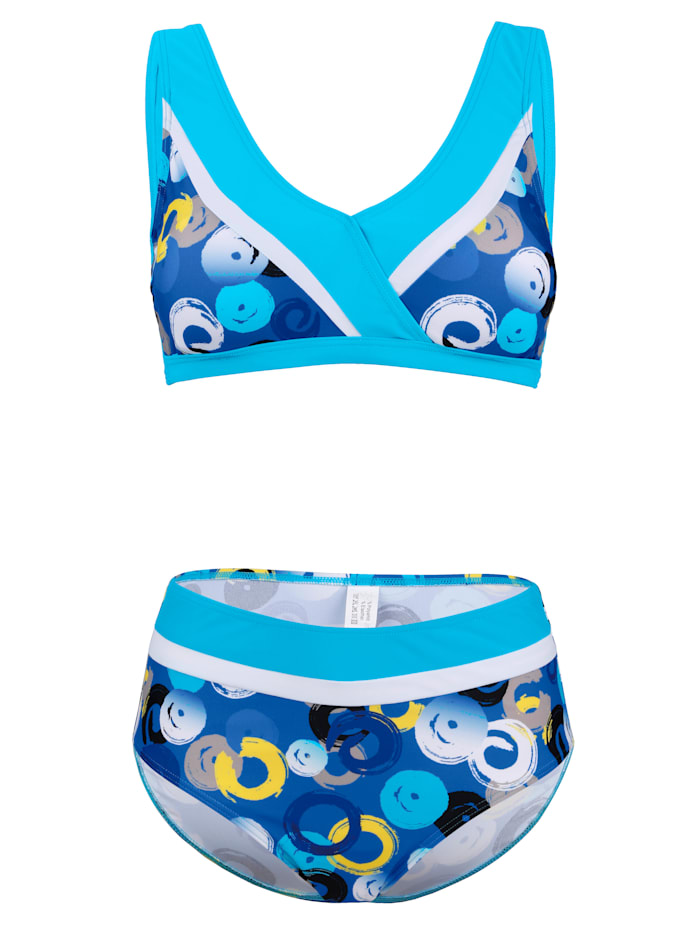 Maritim Bikini met print rondom, Turquoise/Royal blue