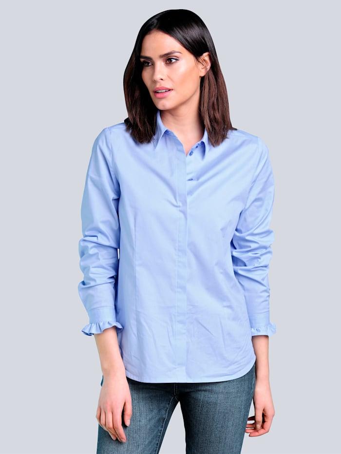 Alba Moda Bluse mit verdeckter Knopfleiste, Blau