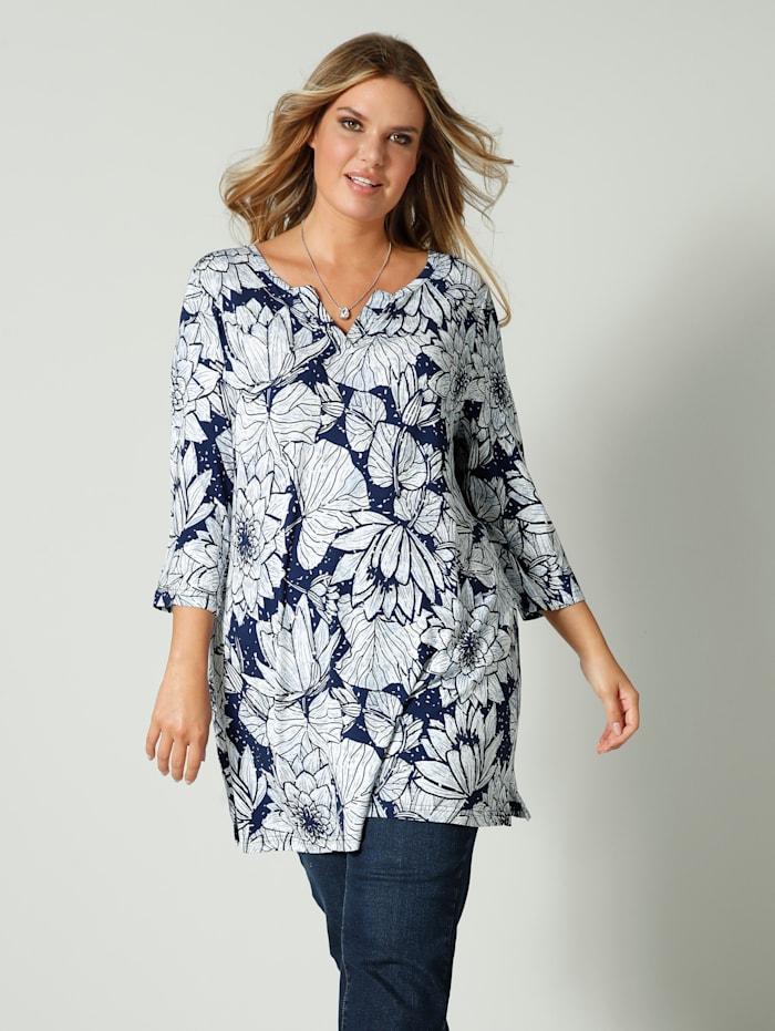 Janet & Joyce Tunika-Shirt mit floralem Druck, Weiß/Blau