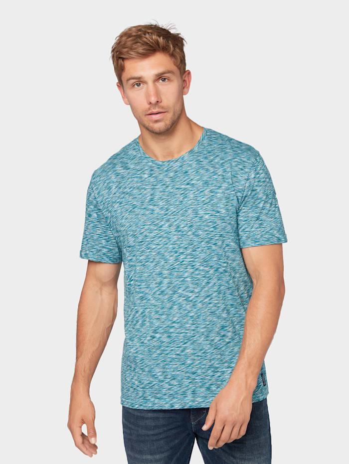 Tom Tailor T-Shirt mit mehrfarbigem Print, rainy sky blue space dye