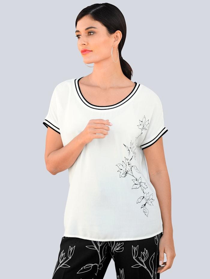 Alba Moda Shirt mit exklusivem, platziertem Alba Moda Print, Off-white/Schwarz