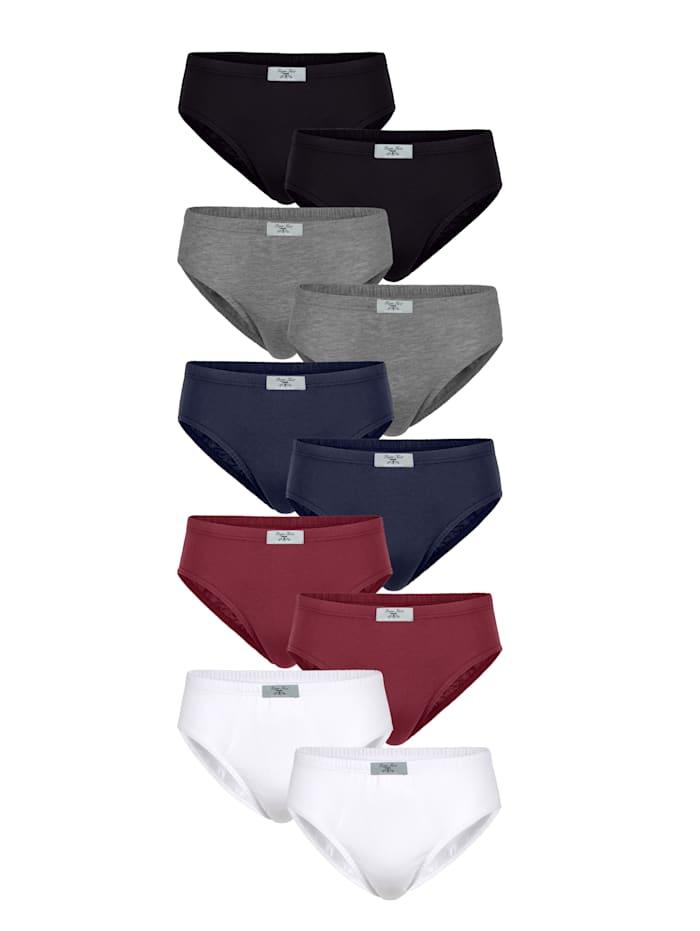 Slips - 10er Pack, Schwarz/Blau/Rot/Grau/Weiß