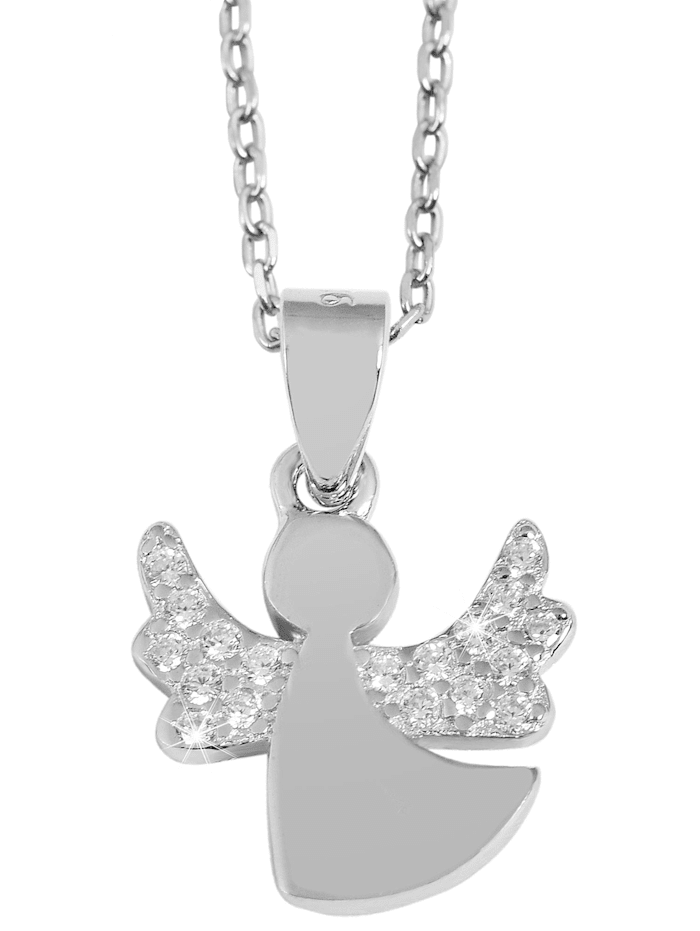 Damen Anhänger Engel aus 925 Silber mit Zirkonia