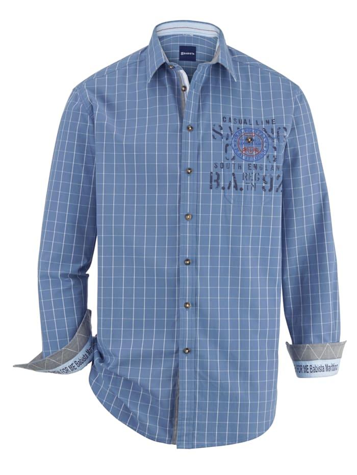 BABISTA Hemd mit Druck auf der Brust & Innenmanschette, Blau