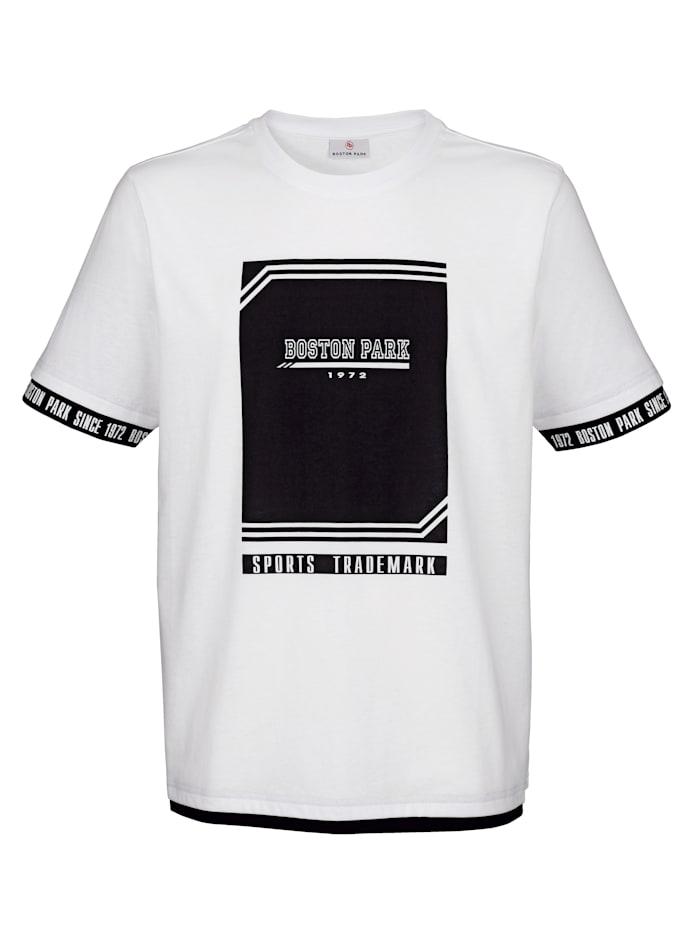 Boston Park T-shirt met print voor, Wit/Zwart