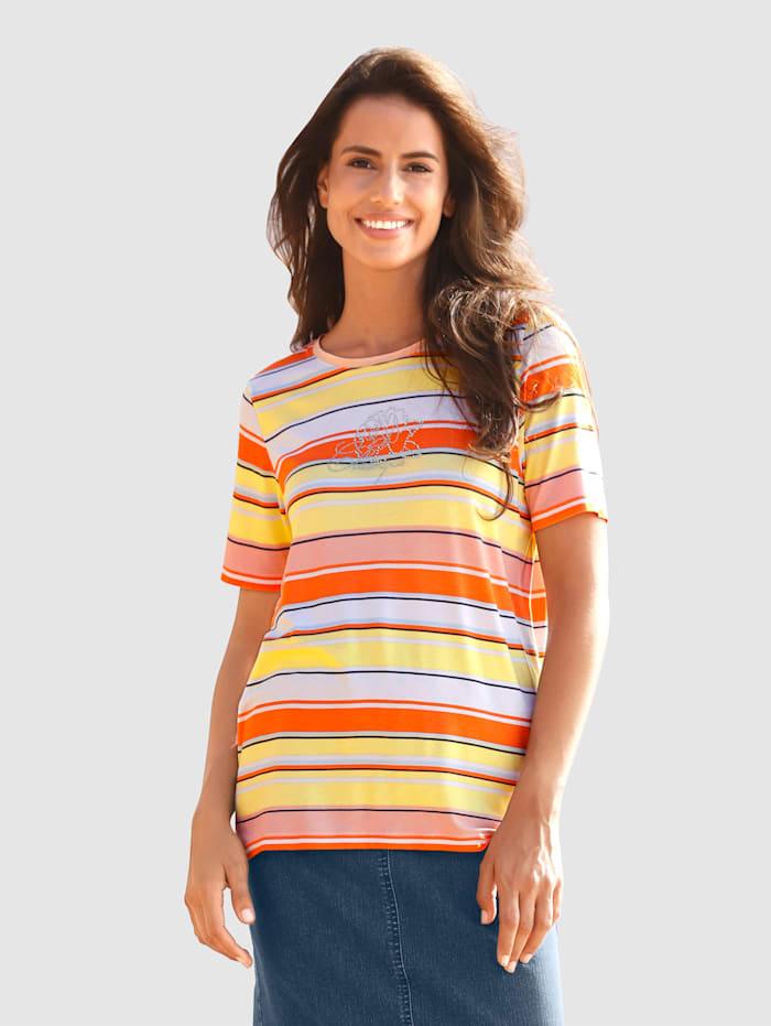 basically you Shirt met steentjesversiering, Wit/Oranje