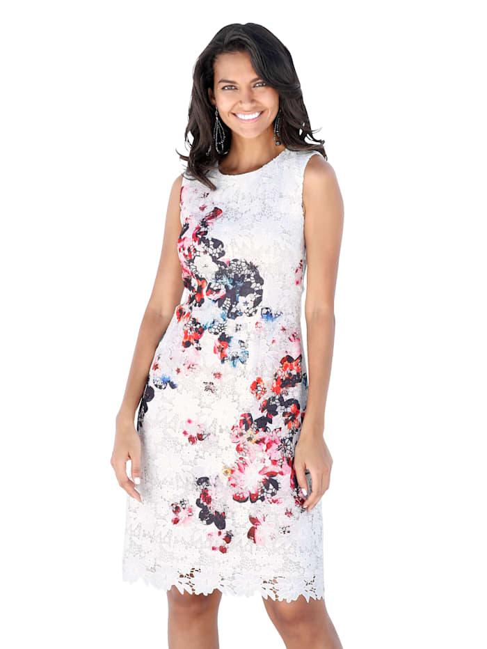 Kleid mit floral bedrucktem Spitzenstoff