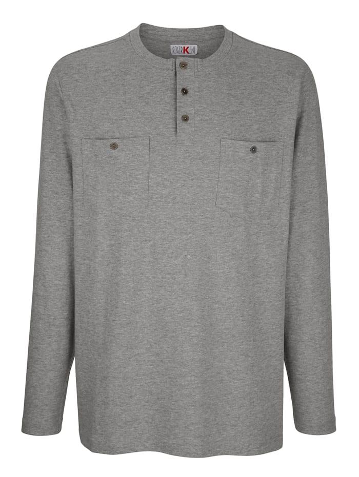 Roger Kent T-shirt met knoopsluiting, Grijs