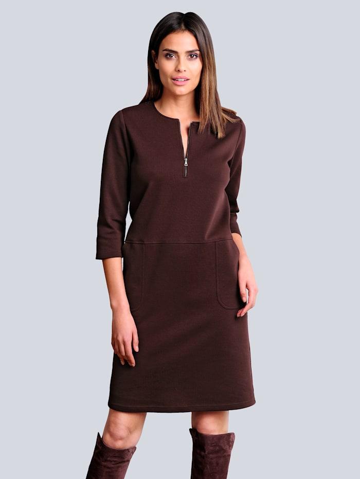Alba Moda Jerseyklänning med dragkedja i ringningen, Bordeaux