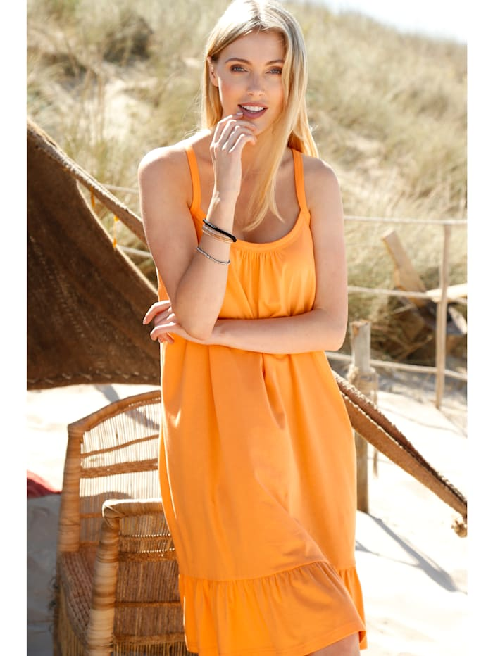 Maritim Strandkleid mit Volant, Orange