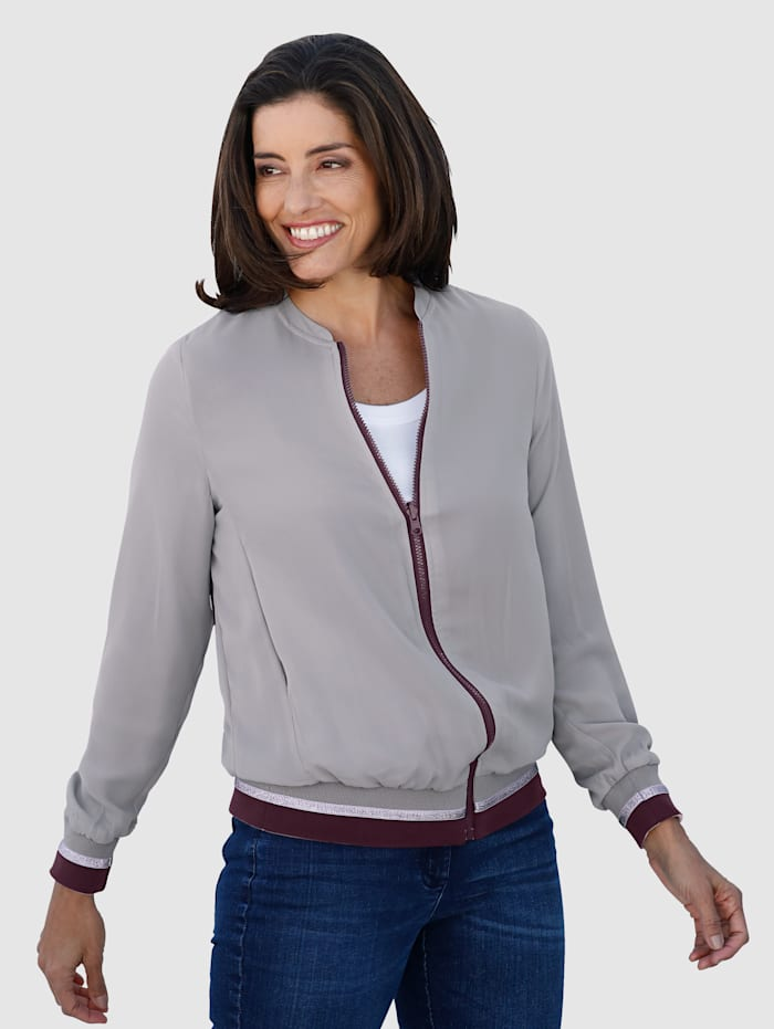 Laura Kent Reversible Blouson Jacket with contrasting hem and cuffs, Grey/Berry