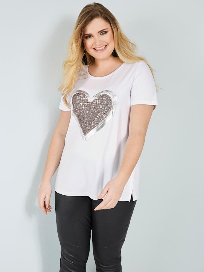 Sara Lindholm Shirt mit Paillettenherz, Weiß/Beige