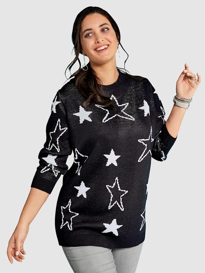 MIAMODA Pullover mit Sternenmotiven, Schwarz/Weiß