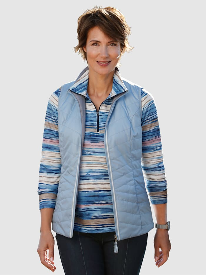 Paola Keerbare bodywarmer met stiksels, Lichtblauw