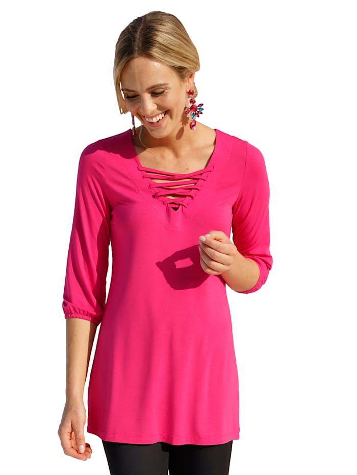 AMY VERMONT Longshirt met veter aan de hals, Pink