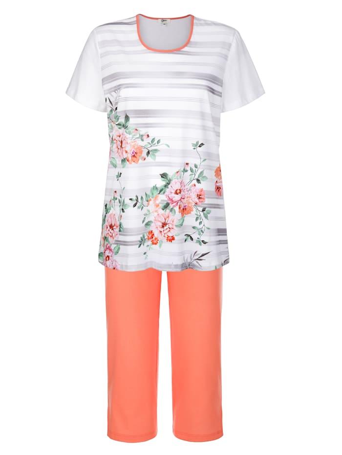 Cybèle Pyjamas med blommor och ränder, Vit/Aprikos/Cerise