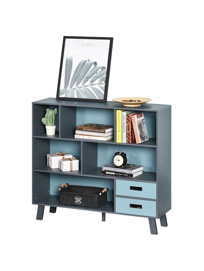 HOMCOM Bücherregal mit 2 Schubladen, blau