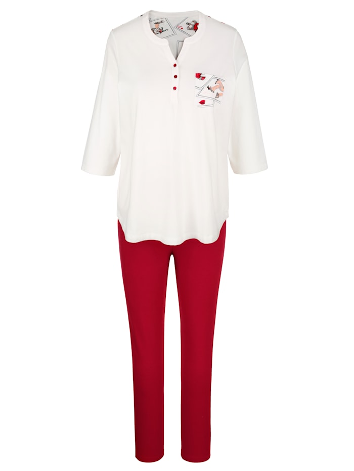 Blue Moon Pyjama's per 2 stuks met gedessineerde achterkant, Ecru/Rood/Zwart