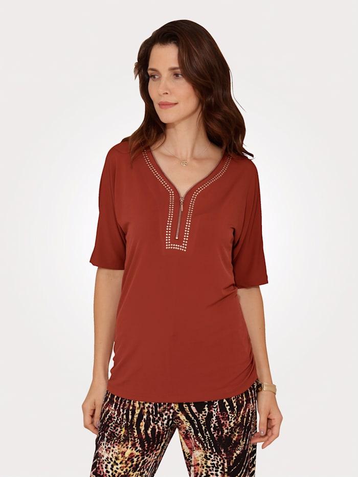 MONA Shirt van elastisch slinkymateriaal, Steenrood