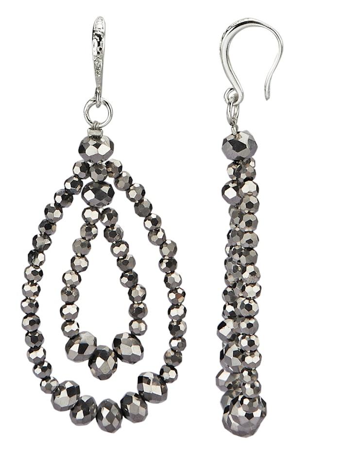 Ohrhaken mit grauen Glasperlen, Grau
