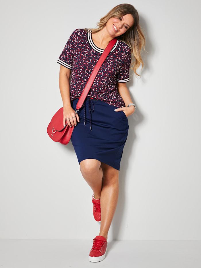 Janet & Joyce Shirt mit Rippbündchen an Ausschnitt und Ärmeln, Marineblau/Weiß/Rot