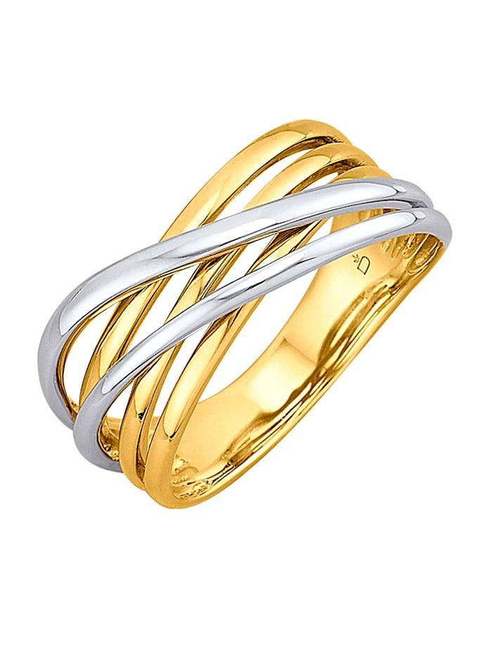 Amara Or Bague en or jaune et or blanc 585, Coloris or jaune