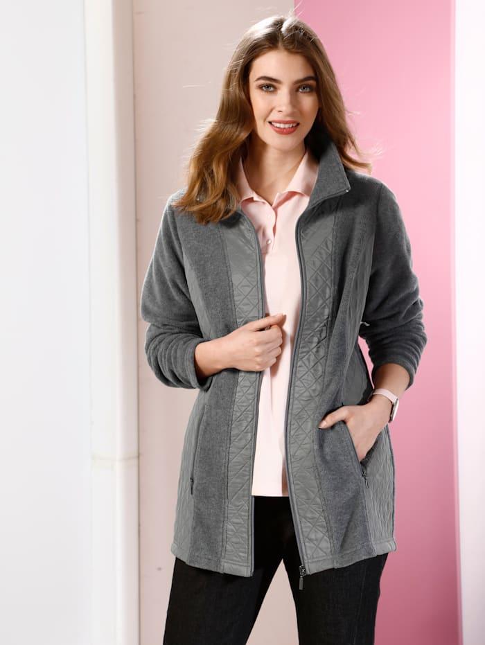 m. collection Fleece vest van een materialenmix, Antraciet