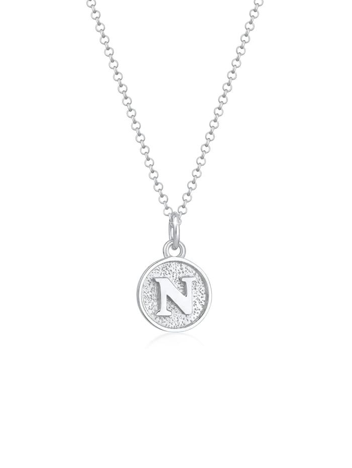 Elli Halskette Buchstabe N Initialen Vintage Plättchen 925 Silber, Silber