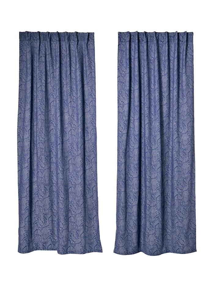 IMPRESSIONEN living Vorhang-Set, 2-tlg., blau/weiß