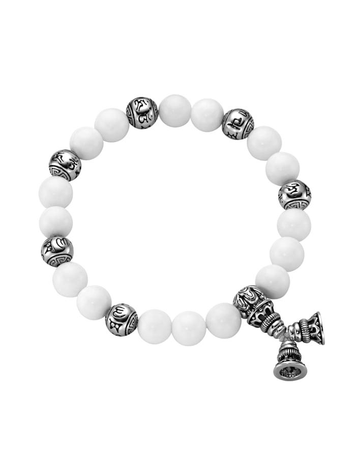 Giorgio Martello Armband weiße Achat Kugeln, tibetische Glücks-Symbole, Silber 925, Weiss