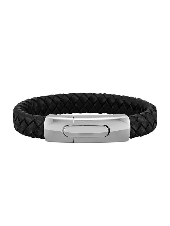 Leder-Armband, Edelstahl, Schwarz